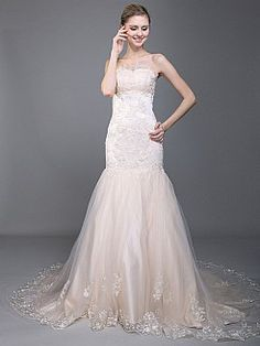 Strapless Organza Mermaid Wedding Dress with Floral Embroidery 0113960 - USD $288.00