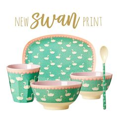 Swan Print Melamine Cup Rice DK - Vibrant Home