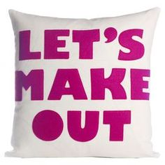 """Add a charming touch to your sofa or settee with this eco-friendly pillow, showcasing a felted texture and typographic design.   Product: PillowConstruction Material: Felt cover and polyester fillColor: Cream and fuchsiaFeatures:  Eco-friendlyInsert includedFelted texture Typographic design Zipper closure Made in the USA  Dimensions: 22"""" x 22"""""""