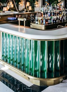 Lava stone bar counter, fluted files & tabletops at The Four Seasons Surf Club Miami Decoration Restaurant, Restaurant Design, Bar Interior Design, Cafe Design, Bar Lounge, Stein Bar, Four Seasons Surf Club, Bar Counter Design, Back Bar Design