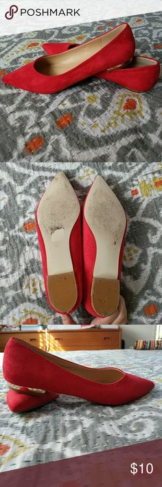 Red Faux Suede (vegan) Pointed Flats Red vegan suede pointed flats from Asos.  Brand is Raid. Worn once. Shoes Flats & Loafers