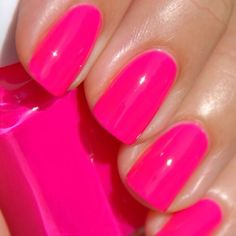 Save the French mani for your wedding day - go BOLD with hot pink for your bachelorette party! #bacheloretteparty #nailideas