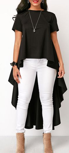 Short Sleeve Round Neck High Low Black Blouse