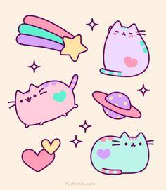 Gifs gatito Pusheen para enviar gratis como postal online.