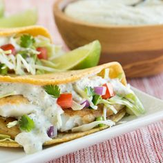 Fish Tacos with Cilantro Sauce