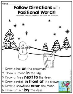 Art therapy activities grades Directions with Positional Words- such a FUN activity found in the NO PREP Packet for January! Speech Activities, Language Activities, Therapy Activities, Preschool Activities, Preposition Activities, Listening Activities, Winter Activities, Capacity Activities, Vocabulary Games