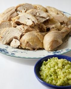 Steamed Chicken with Ginger Scallion Dipping Sauce - Cold Ginger Chicken Steam Chicken Recipe, Ginger Scallion Sauce, Steamed Chicken, Ginger Sauce, Ginger Chicken, Dipping Sauces For Chicken, Chicken Sauce Recipes, Sauce For Chicken