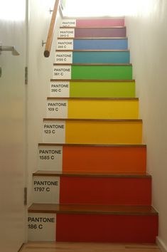 Rainbow Pantone Stairs. YESSSS!  Except we would do rainbow stair tops and black toe kicks. Find closest matching paint samples.