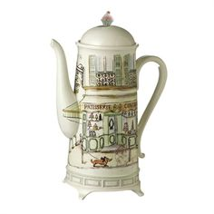 Serve coffee in Parisian style thanks to this elegant carafe that features fine ceramic construction and a charming image. Dog Coffee, Coffee Talk, Honey Candy, Street Coffee, Tea Gifts, Tea Infuser, Carafe, Tea Cups, Mugs