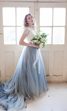 Pantone Serenity blue color of the year wedding dress | Karra Leigh Photography