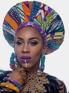 In the headwraps became a central accessory of Black Power's rebellious uniform. Headwrap, like the Afro, challenged accepting a style once used to shame African-Americans. African Hats, African Attire, African Wear, African Women, African Print Dresses, African Fashion Dresses, African Dress, African Inspired Fashion, African Prints