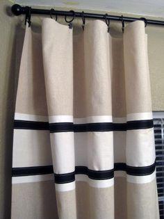 color block curtain w/ribbon trim