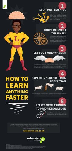 Psychology infographic & Advice How to Learn Anything Faster Infographic - e-Learning Infographics Image Description How to Learn Anything Faster Study Skills, Life Skills, Study Techniques, Learn Faster, How To Read Faster, E Mc2, Educational Websites, Educational Leadership, Educational Technology