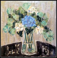 """""""Hydrangea and Viburnum"""" (SOLD) I French Palette Art by Sherrill French"""