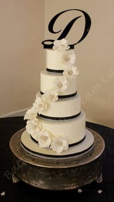 Black, white and diamonds Wedding Cake ~ sugar paste flowers ~ all edible