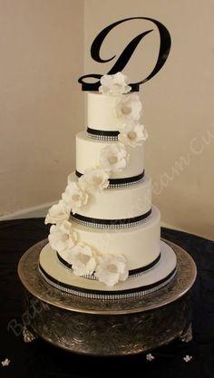 Black, white and diamonds Wedding Cake ~ sugar paste flowers ~ all edible