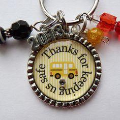 Thanks for keeping us safe School bus driver keychain, gift, present  teacher, kindergarten elementary school, bus driver