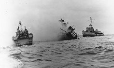 "Photo USS Tide Sinking off ""Utah"" Beach after striking a mine during the Normandy invasion, 7 June USS and USS Pheasant are standing by. Photographed from USS Threat Official U. Battle Of Normandy, D Day Normandy, Normandy Invasion, Normandy France, Merchant Navy, Merchant Marine, Utah, D Day Landings, Haunting Photos"