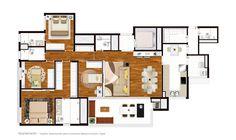 Planta Baixa Apartamento  -   Trabalho desenvolvido para a empresa Melancia Estúdio Digital.
