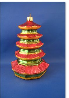 Japanese Pagoda Glass Christmas Ornaments Poland Japan 011139
