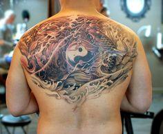 Chronic Ink Tattoo, Toronto Tattoo.                      - Half back ying yang koi fish tattoo by Master Ma