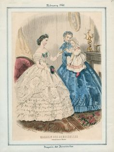In the Swan's Shadow: Magasin des Demoiselles, February 1862.  Civil War Era Fashion Plate