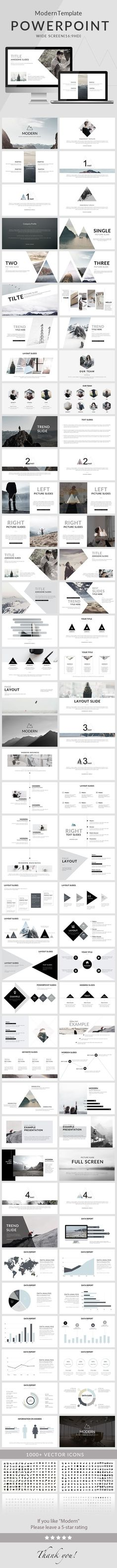 Nice and clean modern PowerPoint presentation template for creative presentations. 80 slides to emphasize the key points of the presentation and create a great impression on the viewers. Graphisches Design, Slide Design, Layout Design, Interior Design, Book Design, Design Model, Cover Design, Creative Design, Cv Inspiration