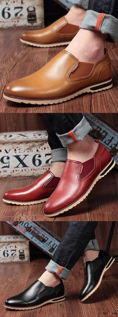 US$43.89 + Free shipping. Men Shoes, Leather Shoes, Slip On Shoes, Casual Style, Business Shoes, Oxford Shoes. Color: Black, Brown, Red, Blue, Yellow. Stylish Oxford Shoes.