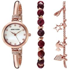 Anne Klein AK-2840RJAS (Rose Gold-Tone) Watches (6,900 DOP) ❤ liked on Polyvore featuring jewelry, watches, anne klein jewelry, water resistant watches, rose gold tone watches, analog wrist watch and analog watches