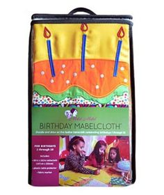 Mabel  Mabel Birthday Tablecloth: Cards may eventually find their way into the trash, but this is one birthday greeting that'll last a lifetime. Each year—on birthdays 1 through 10—take out this washable, handcrafted tablecloth and ask guests to pen a message to the birthday girl or boy next to the number that corresponds to the child's age. Includes a plastic table cover and fabric markers.