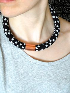 African Fabric Necklace Jewelry  Black and White by RitaVanTassel, $28.00