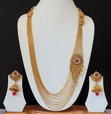 Ethnic Indian Long Necklace Jewelry Bollywood Earrings Gold Plated Chain Set I66 Gold Temple Jewellery, Gold Jewellery Design, Gold Jewelry, Antique Jewelry, Indian Wedding Jewelry, Indian Jewelry, Indian Bridal, Bridal Jewelry, Stylish Jewelry