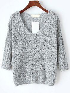 V Neck Hollow Light Grey Sweater 15.11