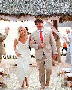 An Orange-and-White Intimate Beach Destination Wedding in Mexico | Martha Stewart Weddings