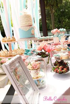 Pink & Blue themed dessert table