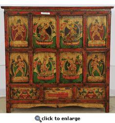 Marvelous Tibetan Furniture Cabinet (Tibetan Painted Cabinet)