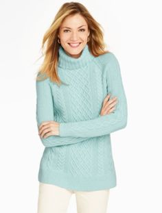 Talbots - Cable Turtleneck Tunic Sweater | | Misses Discover your ...