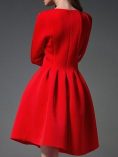 Red Elegant Crew-Neck Ball Gown Midi Dress
