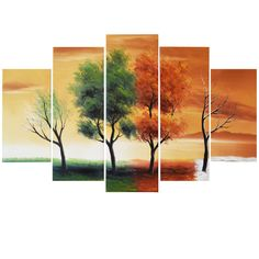 Four Seasons of Nature Landscape Canvas Wall Art Oil Painting