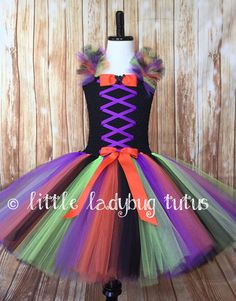 Little Witch Halloween Tutu Dress. Orange by LittleLadybugTutus