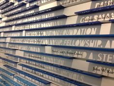 Donor wall at The Art Institute of Chicago Environmental Graphic Design, Environmental Graphics, Wayfinding Signage, Signage Design, Award Display, Donor Wall, Landscape Walls, Digital Signage, Art Institute Of Chicago