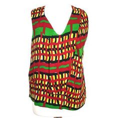 Marni Graphic Red & Neon Green Block Print Top