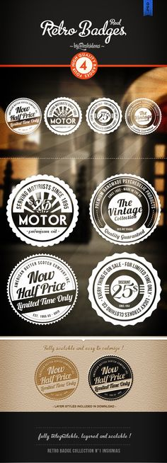4 Retro Badges | Freshideas  from http://graphicriver.net/  where you can purchase other graphic design art, ideas, templates and more...