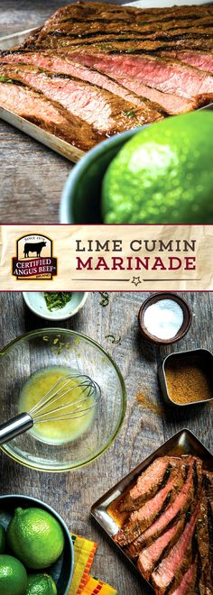 Certified Angus Beef®️️ brand Lime Cumin Marinade is PACKED with zesty lime flavor! The combination of lime juice, lime zest, and cumin brings out a depth of flavor in any cut of beef. Holiday Roast Recipe, Easy Roast Beef Recipe, Boeuf Angus, Angus Beef, Best Beef Recipes, Cooking Recipes, Favorite Recipes, Beef Dishes, Food Dishes