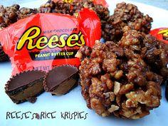 Reese's Peanut Butter Cup Rice Krispies Treats from SixSistersStuff.com. #dessert #recipe