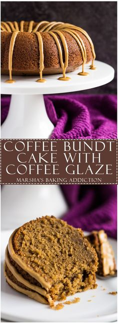 Coffee Bundt Cake - This Bundt cake is scrumptiously moist and fluffy, infused with coffee, and drizzled with a sweet coffee glaze. The perfect cake for coffee lovers! Coffee Dessert, Coffee Cake, Coffee Bundt Cake Recipe, Coffee Coffee, Coffee Cupcakes, Coffee Drinks, Cabin Coffee, Coffee Flour, Coffee Enema