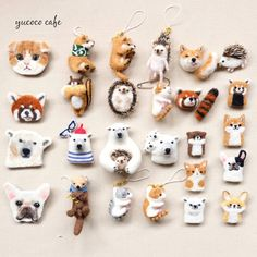 Cute Needle felted project wool animals (Via Clay Crafts, Felt Crafts, Diy And Crafts, Brooches Handmade, Handmade Toys, Needle Felted Animals, Felt Animals, Wonder Zoo, Felted Wool Crafts