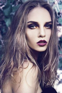 plum lips. Smokey eyes with a hint of gold