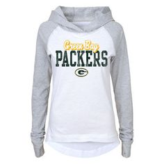 Juniors Green Bay Packers White/Gray Old School Long Sleeve Hooded T-Shirt