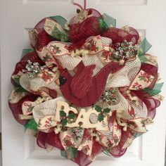 What A Mesh by Diana New Premium Red Cardinal Peace Holiday Wreath Deco Mesh Garland, Deco Mesh Wreaths, Burlap Wreaths, Wreath Crafts, Diy Wreath, Christmas Mesh Wreaths, Winter Wreaths, Christmas Candy, Christmas Stocking